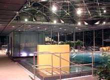 Nichtschwimmerbecken mit darüberliegendem Glasdach